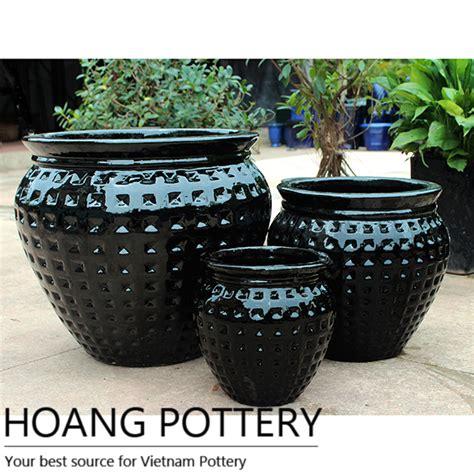 black ceramic glazed outdoor planter hpdb008