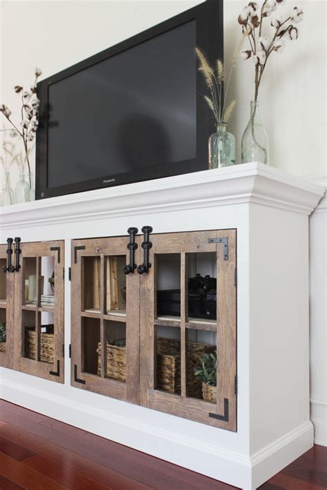 diy media cabinet ana white farmhouse media cabinet featuring shades of