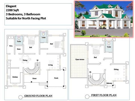 kerala three bedroom house plan kerala style house plans 2200 sqft 3 bedroom 2 story house