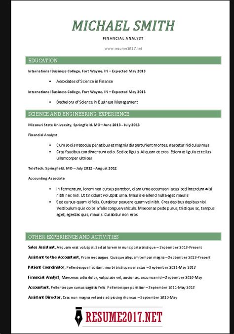 resume format 2017 chronological resume format 2017
