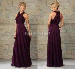 plum colored of the dresses vestido de madrinha plum chiffon bridesmaid dress for