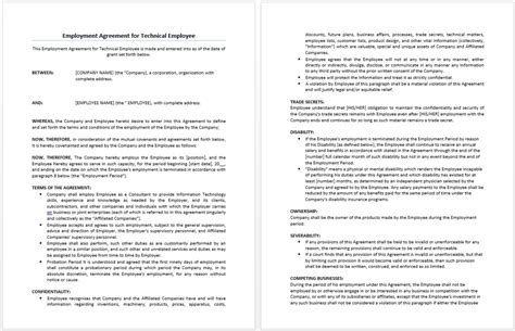 technical agreement template technical employment agreement template format template