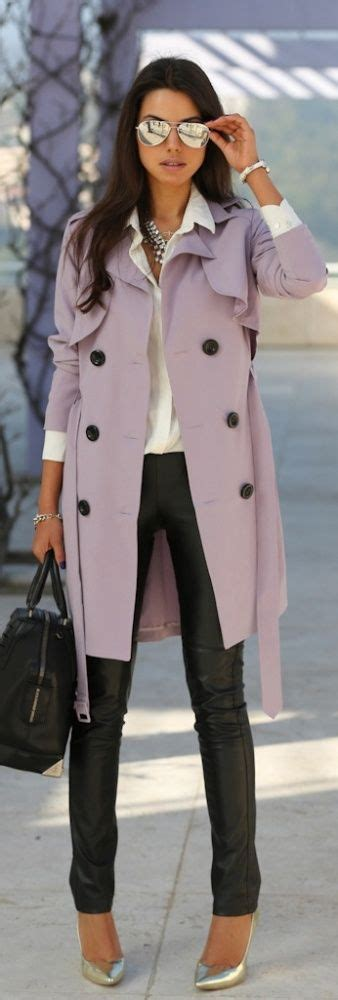 Style Ideas How To Work The Metallic Trench This Second City Style Fashion lilac trench coat leather so chic style