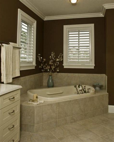 dark brown bathroom dark bathroom walls angled tub just like mine only