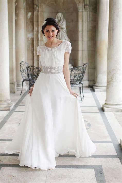 stunning grecian inspired gown modest wedding dress