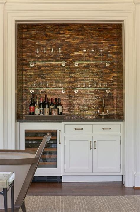 Bar Nook Living Room Bar Nook With Copper Mosaic Tile