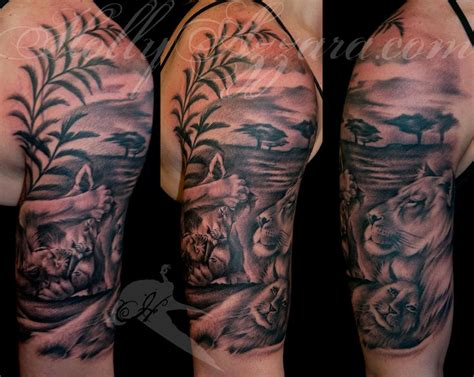 lion tattoo half sleeve design for tatoos