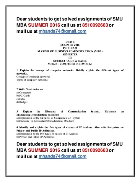 Mba Solved Assignments 2016 by Mi0035 Computer Networks 3 Rd Sem Mba Summer 2016 Smu