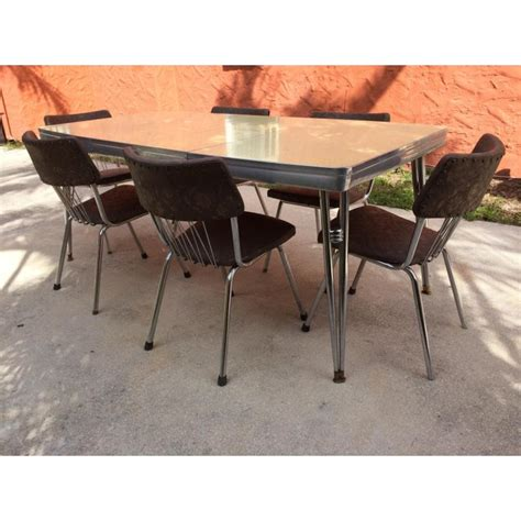 1950 s chrome table and chairs mid century modern howell chrome dining set with table and