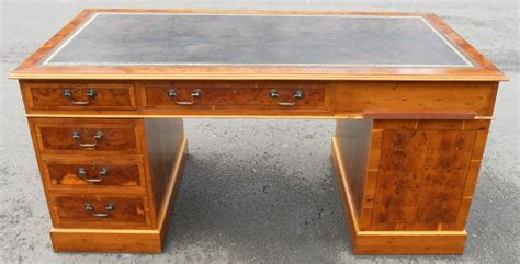 large wood writing desk large burr yew wood three pedestal writing desk sold