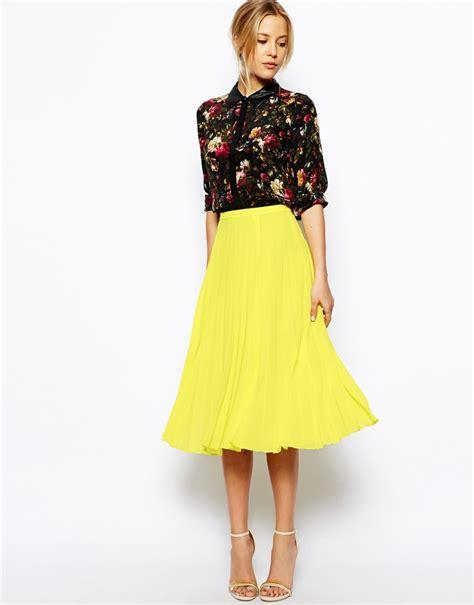 yellow skirt asos collection pleated midi skirt