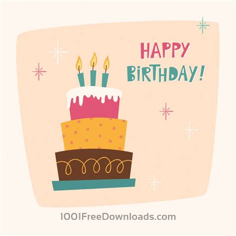 Birthday Cards For Free Free Vectors Happy Birthday Card With Cake Abstract
