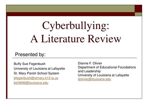 themes within a literature review ppt cyberbullying a literature review powerpoint