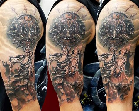 spartan quarter sleeve tattoo warrior tattoos design ideas pictures gallery