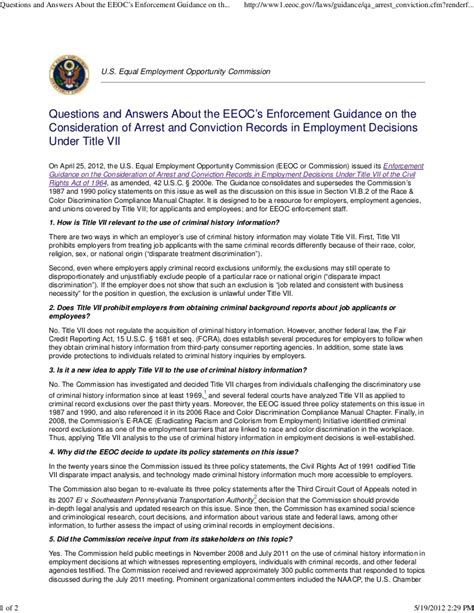 Criminal Background Check Laws Criminal Background Check Q And A About The Eeoc S Enforcement Guid