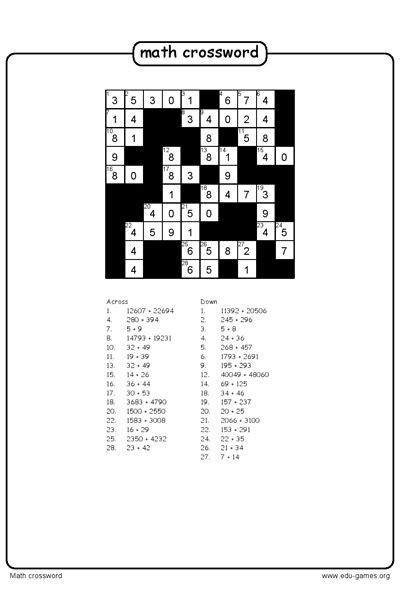 create  math crossword puzzle