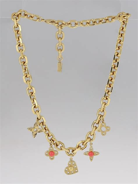 Louis Vuitton Monogram Costume Jewelry by Louis Vuitton Goldtone Monogram Hide And Seek Necklace And