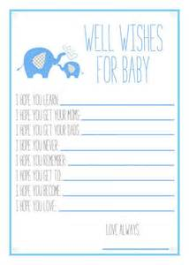 wishes for baby boy template blue elephant baby shower printable well wishes for baby