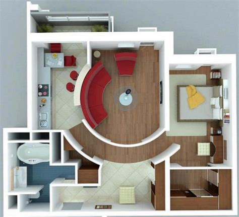 plano de habitacion plano de departamento de un dormitorio moderno