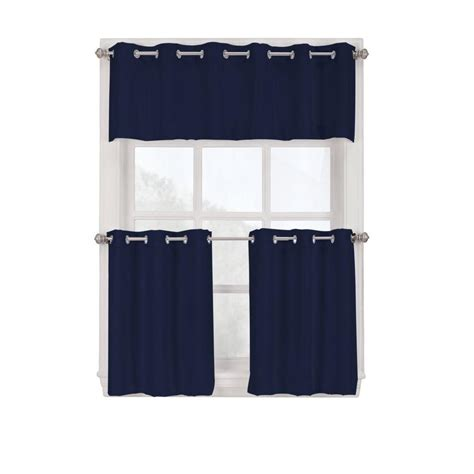 Grommet Kitchen Curtains Lichtenberg Navy Montego Grommet Kitchen Curtain Tiers 56 In W X 24 In L 38808 The Home Depot