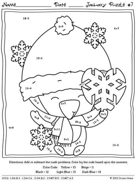 penguin math coloring page winter wonder math january math printables color by the