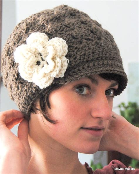 pattern crochet hat with flower adult crochet brimmed beanie shell hat with flower you choose