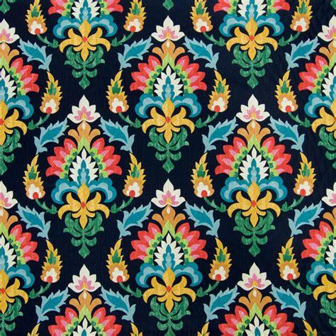midnight black medallion floral print cotton upholstery