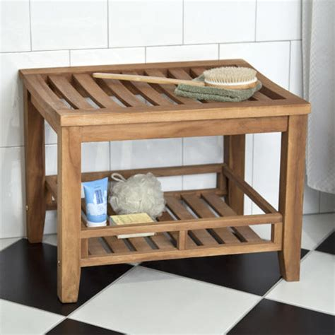 Bathroom Bench Storage Teak Rectangular Shower Stool Shower Seats Bathroom Accessories Bathroom