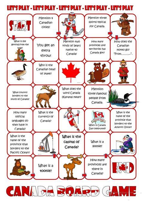 printable quiz about canada canada board game worksheet free esl printable
