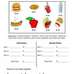 snack bar money worksheet 1