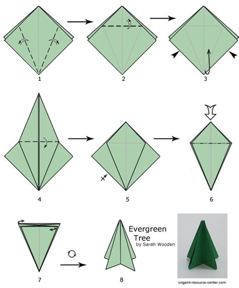 Easy Origami Tree - evergreen tree