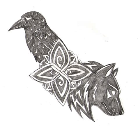 wolf and raven tattoo by navina on deviantart