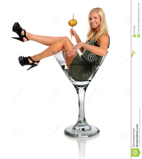 Young Woman In Martini Glass Stock Image Image 16164283