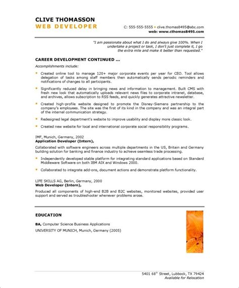 Resume Sles For Experienced Net Developer Web Developer Free Resume Sles Blue Sky Resumes