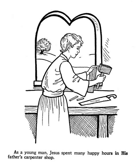 coloring pages of joseph the carpenter jesus at work in st joseph s carpenter shop coloring page