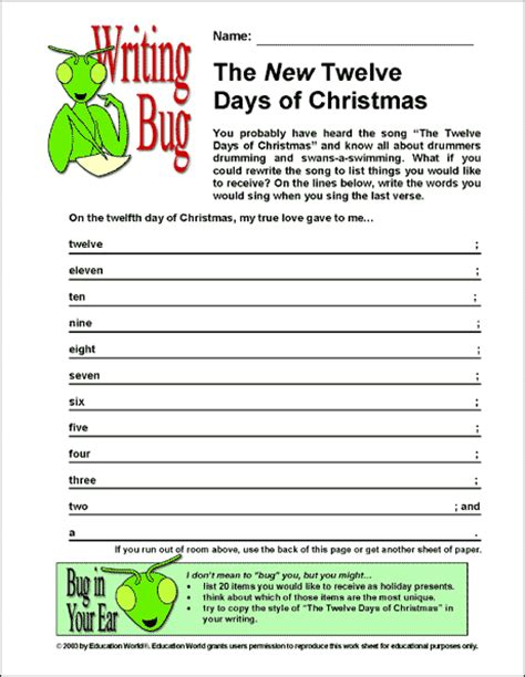 Writing Bug The New Twelve Days Of Christmas Education World 12 Days Of Printable Templates