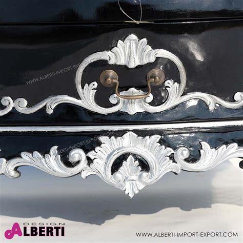 comodino barocco comodino ginevra black silver 70x45xh55