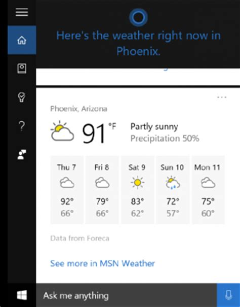 how to make cortana show the weather for multiple cities