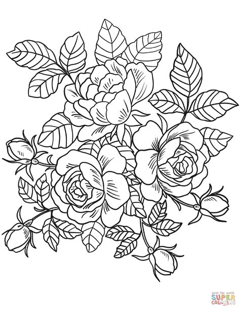 Flowers Coloring Pages Print by Roses Flowers Coloring Page Free Printable Coloring Pages