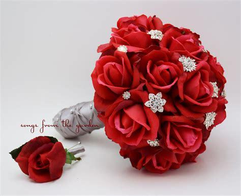 Balloonable Petal Mawar Lembaran Artificial roses rhinestones bridal bouquet real touch bridal