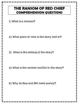 The Ransom Of Chief Worksheet Answers by Ransom Of Chief By O Henry Story Resources And