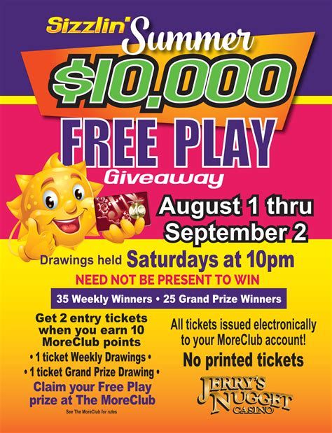Free Game Giveaways - 10 000 sizzlin summer free play giveaway jerry s nugget
