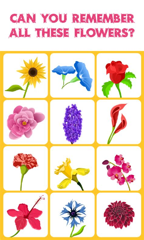 Printable Games About Flowers | flowers match memory game is a concentration style