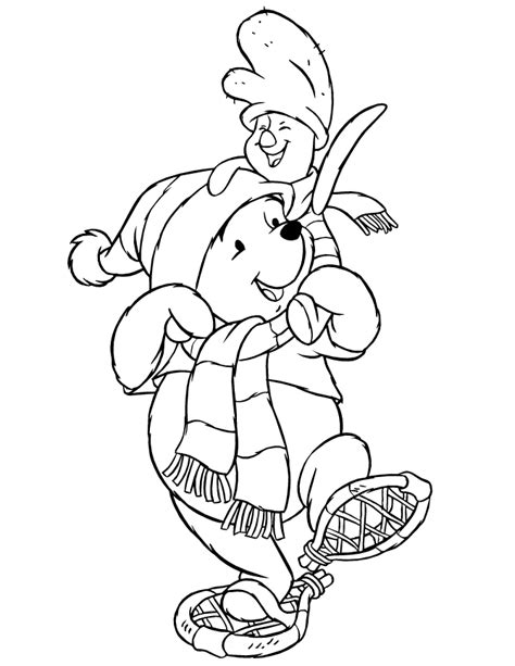 disneys pooh bear and piglet winter coloring page h m