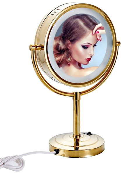 lighted makeup mirror 10x magnification tabletop sided led lighted makeup mirror with 10x
