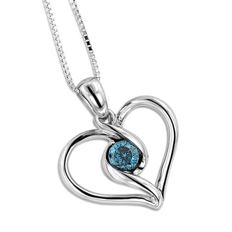 14k white gold single blue necklace for