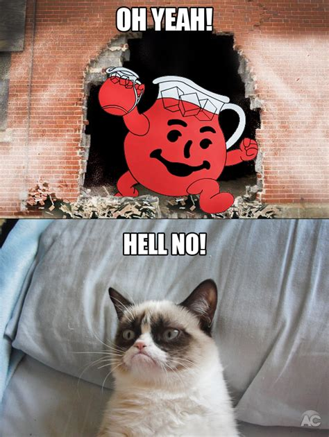 Oh Yeah Kool Aid Meme - hey kool aid quot oh yeah quot grumpy cat know your meme