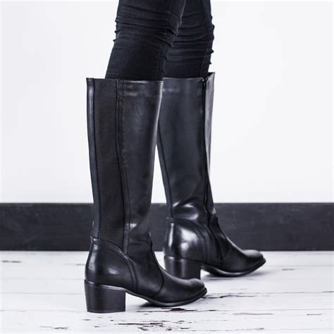 wide calf thigh high heel boots buy block heel knee high boots black leather