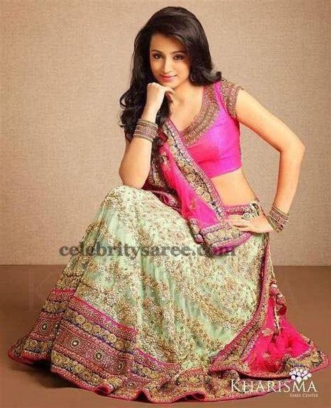 trisha krishnan themes trisha cream color lehenga designer half sarees