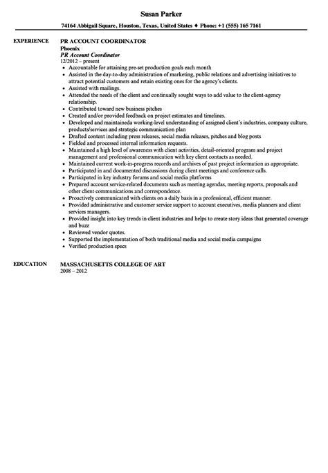 public relations account coordinator resume sample velvet jobs